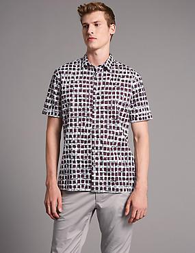 Pure Cotton Slim Fit Printed Shirt, BURGUNDY MIX, catlanding