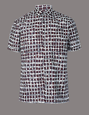 Pure Cotton Slim Fit Printed Shirt, BURGUNDY MIX, catlanding