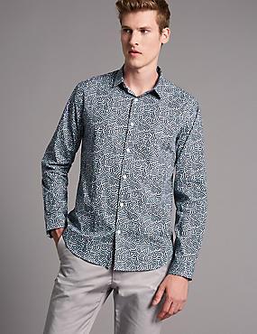 Supima® Cotton Slim Fit Squiggle Print Shirt, BLUE, catlanding