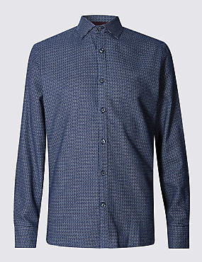 Pure Cotton Tailored Fit Checked Shirt