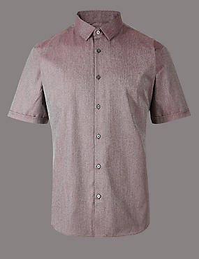 Supima Cotton Slim Fit Textured Shirt