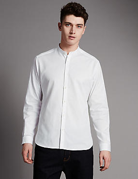 Luxury Supima® Cotton Tailored Fit Granddad Collar Shirt