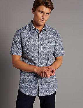 Pure Cotton Slim Fit Textured Shirt