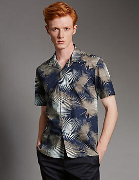 Luxury Supima® Cotton Palm Print Shirt