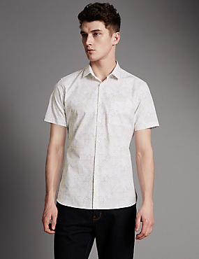 Luxury Supima® Cotton Slim Fit Tile Print Shirt