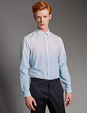 Luxury Pure Cotton Slim Fit Dip Dye Shirt