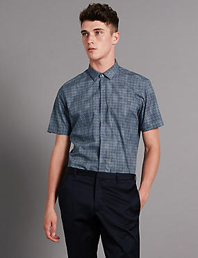 Pure Cotton Tailored Fit Luxury Geometric Print Shirt