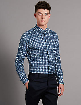 Pure Cotton Digital Print Long Sleeve Luxury Shirt