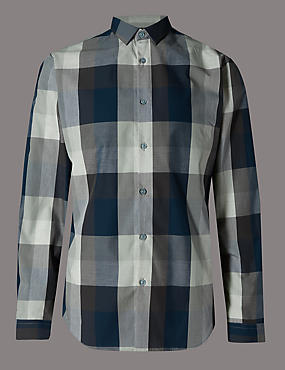 Pure Cotton Slim Fit Checked Shirt