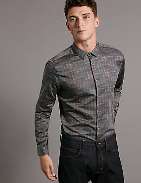 Luxury Pure Cotton Slim Fit Printed Shirt