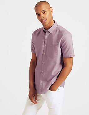 Pure Cotton Slim Fit Shirt with Pocket, DUSKY ROSE, catlanding