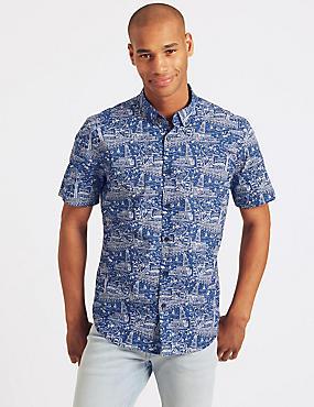 Pure Cotton Slim Fit Printed Shirt, INDIGO, catlanding