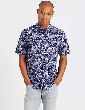 Pure Cotton Printed Shirt, INDIGO, catlanding