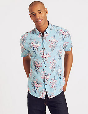 Cotton Rich Slim Fit Printed Shirt, TEAL, catlanding