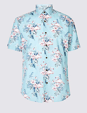 Cotton Rich Slim Fit Printed Shirt, TEAL, catlanding