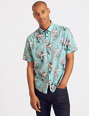 Cotton Rich Printed Shirt, TEAL, catlanding