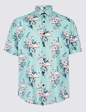 Cotton Rich Floral Printed Shirt