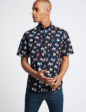 Pure Cotton Surfboard Design Shirt, NAVY, catlanding