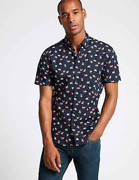 Pure Cotton Slim Fit Fish Print Shirt, NAVY, catlanding
