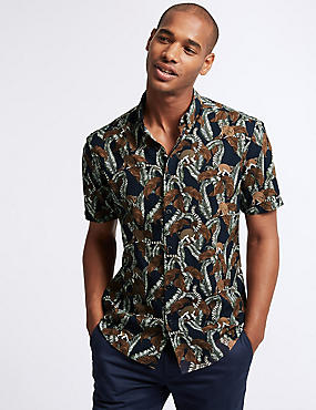 Cotton Rich Slim Fit Printed Shirt, PUTTY MIX, catlanding