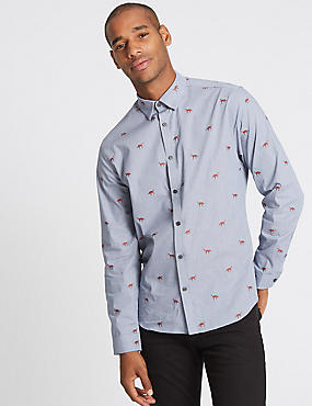 Pure Cotton Slim Fit Fox Print Shirt, NAVY MIX, catlanding