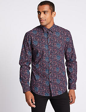 Pure Cotton Slim Fit Printed Shirt, DARK WINE, catlanding