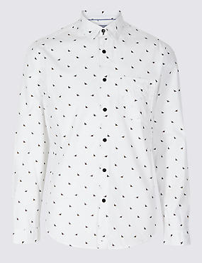 Pure Cotton Slim Fit Printed Shirt with Pocket, WHITE MIX, catlanding