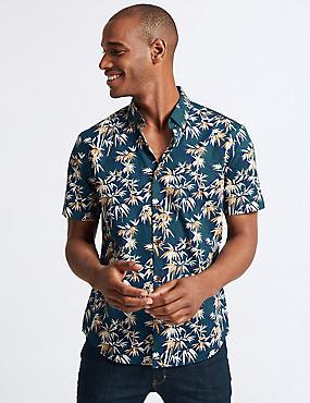 Slim Fit Bamboo Printed Shirt, TEAL MIX, catlanding