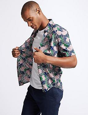 Slim Fit Large Floral Print Shirt, KHAKI MIX, catlanding