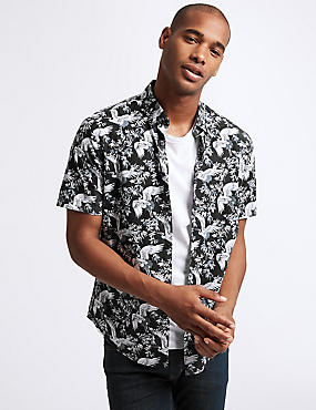 Slim Fit Stork Print Shirt, BLACK MIX, catlanding