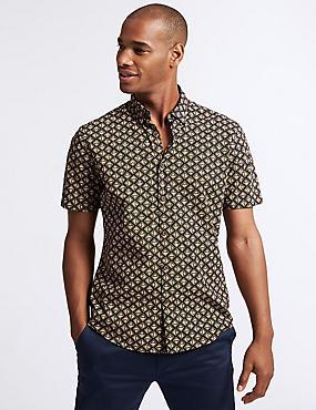 Slim Fit Geometric Print Shirt, NAVY MIX, catlanding
