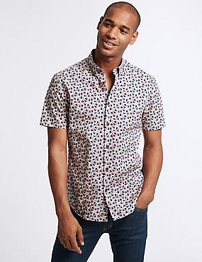 Slim Fit Tear Drop Print Shirt, PINK, catlanding