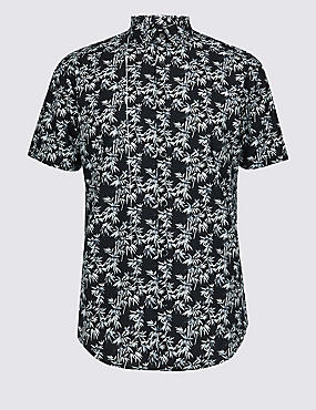 Cotton Rich Printed Shirt, BLACK, catlanding