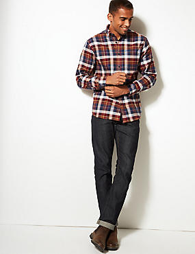 Pure Cotton Checked Shirt with Pocket, RUST MIX, catlanding