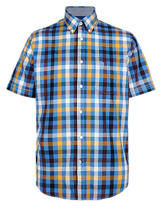 XXXL Pure Cotton Gingham Checked Shirt Clothing