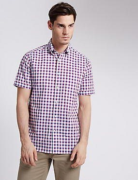 Pure Cotton Tailored Fit Block Checked Shirt