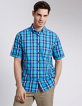 Pure Cotton Short Sleeve Bold Checked Shirt