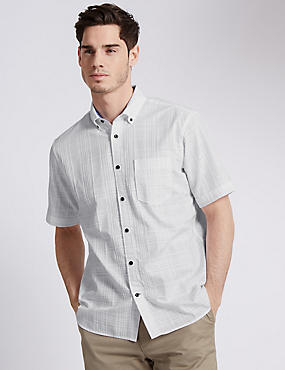 Pure Cotton Textured Check Shirt
