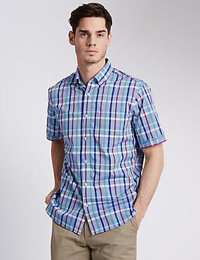 Pure Cotton Multicoloured Checked Shirt