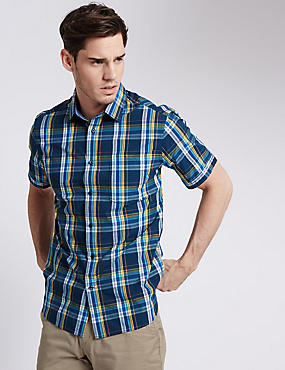 Pure Cotton Tailored Fit Multi Checked Shirt
