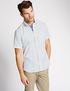 Pure Cotton Tailored Fit Oxford Dobby Shirt