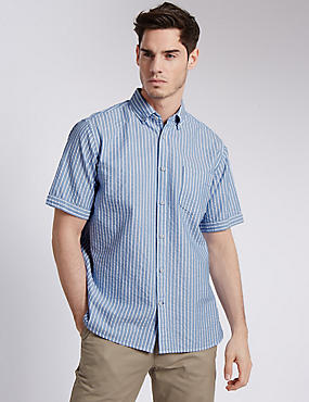Pure Cotton Seersucker Striped Shirt