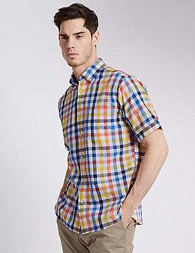 XXXL Pure Cotton Gingham Checked Shirt