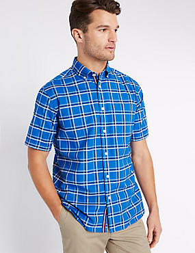 Checked Oxford Shirt with Pocket