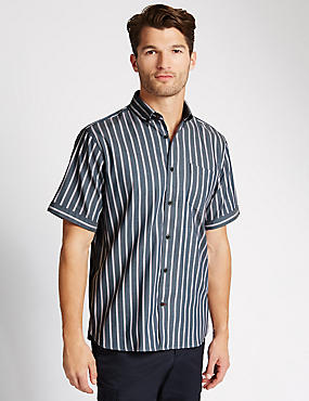 Luxury Pure Cotton Short Sleeve Striped Shirt
