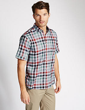 Pure Cotton Short Sleeve Block Checked Shirt