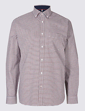 Luxury Stretch Oxford Checked Shirt