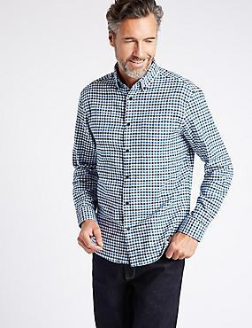Luxury Brushed Cotton Checked Shirt, NAVY MIX, catlanding