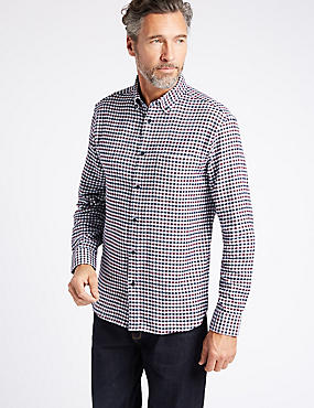 Luxury Brushed Cotton Checked Shirt, BURGUNDY MIX, catlanding