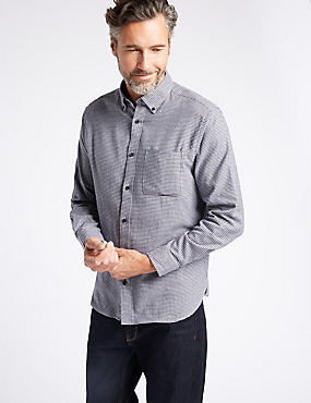 Luxury Brushed Cotton Checked Shirt, GREY MIX, catlanding